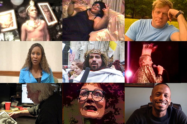 COMPULSIVE PRACTICE (2016). Courtesy of Visual AIDS. [image description: grid of nine stills from video, featuring different people talking directly to camera, or performing]