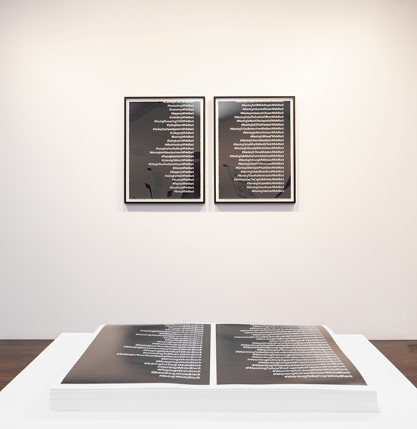 Installation view of  Revolution From Without : Dread Scott, #While Black (offset), 2019, offset lithographs, and #While Black, 2018, diptych in screenprint (courtesy of the artist; photograph by Julia Gillard)