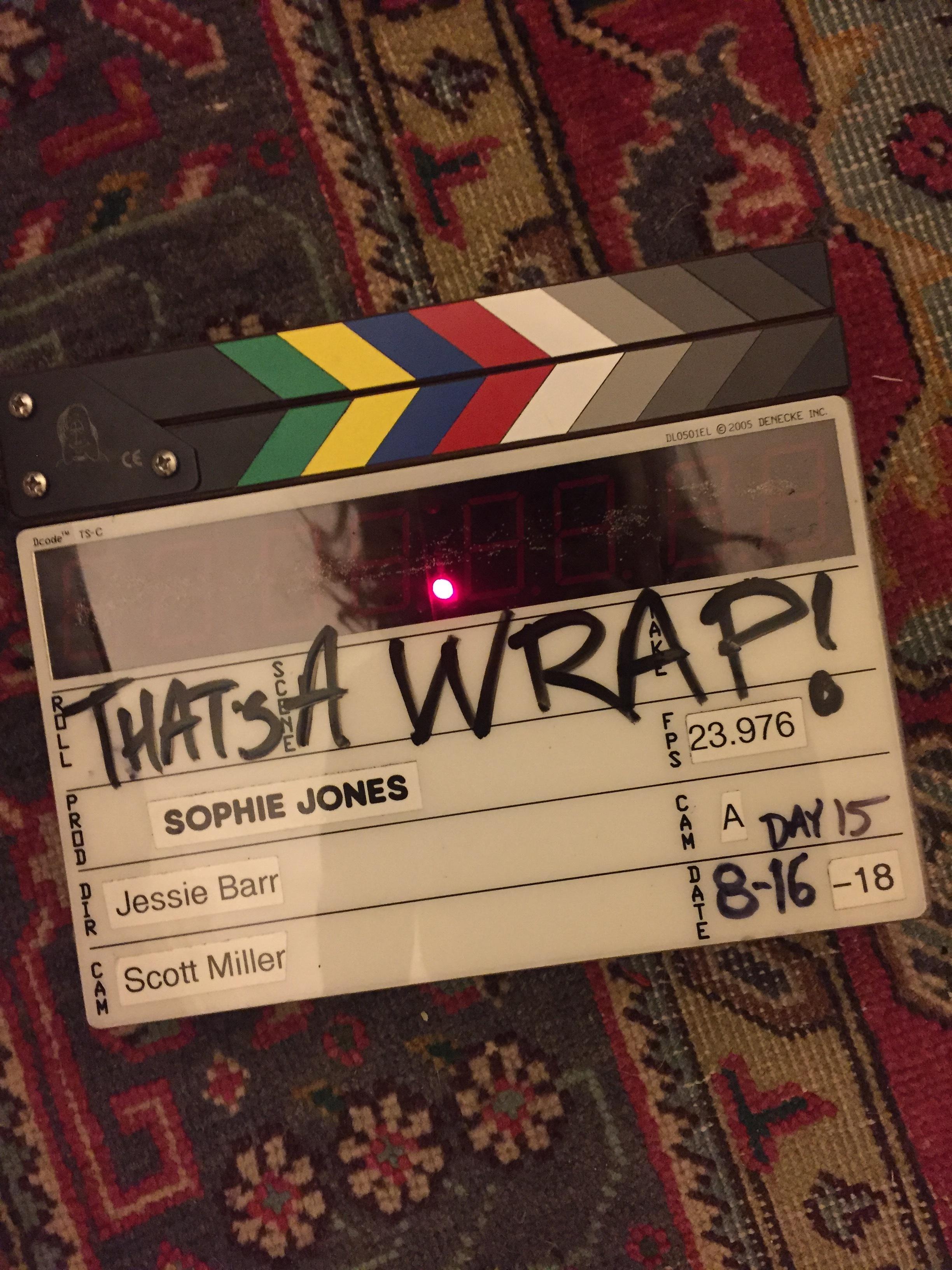 That's a wrap on SOPHIE JONES - Production wrapped on Jessie's feature film directorial debut, SOPHIE JONES. SOPHIEJONESMOVIE.COM