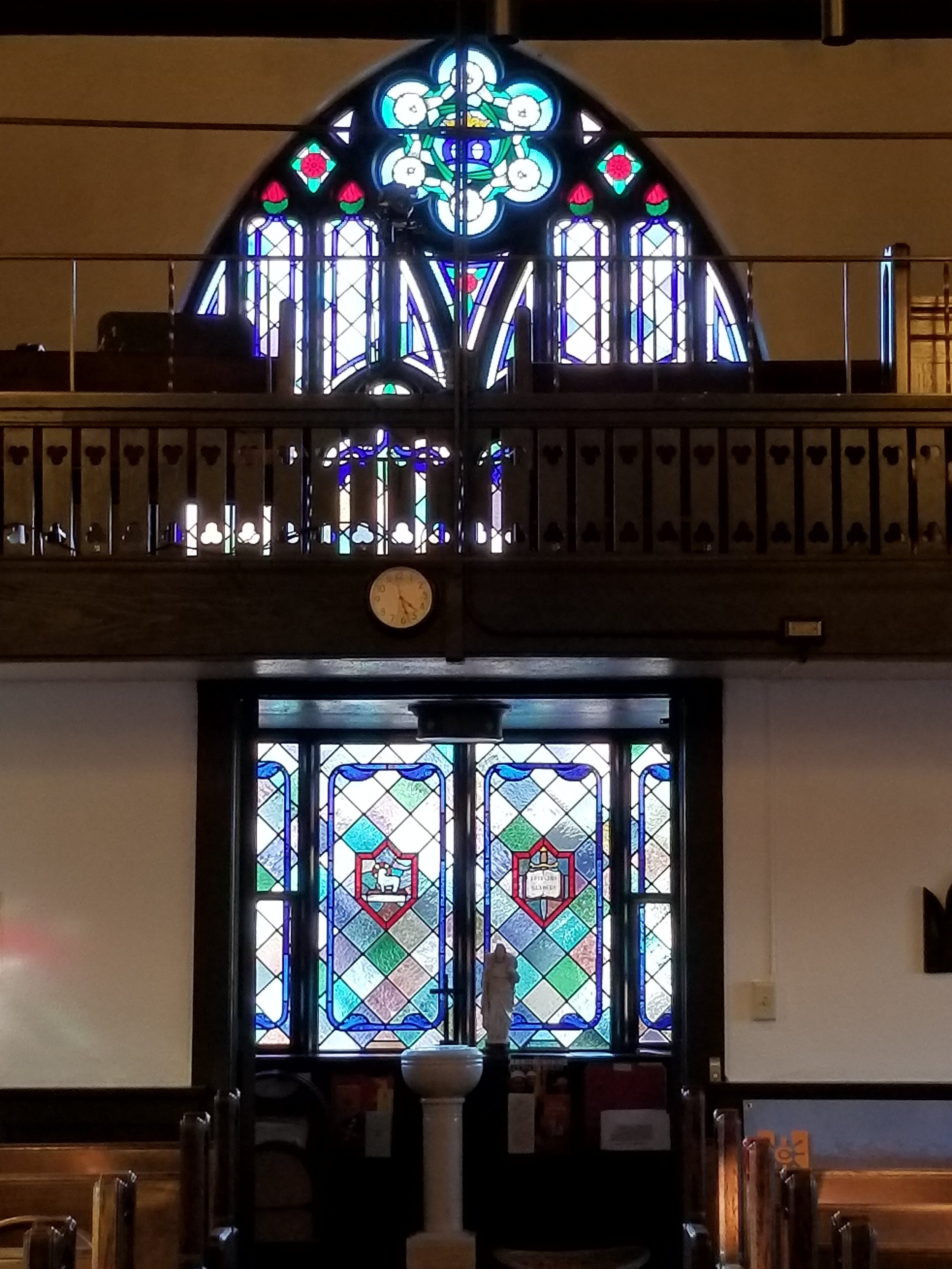 Narthex Window - Newly restored Narthex window continually shines God's light on us as we worship.