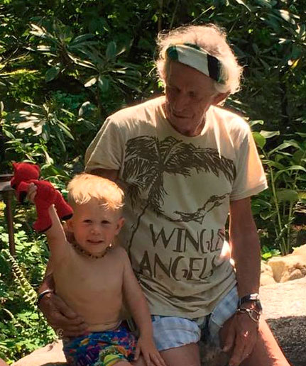 Keith Richards - With grandson and our 1st. Deva Premal Grateful Bear.