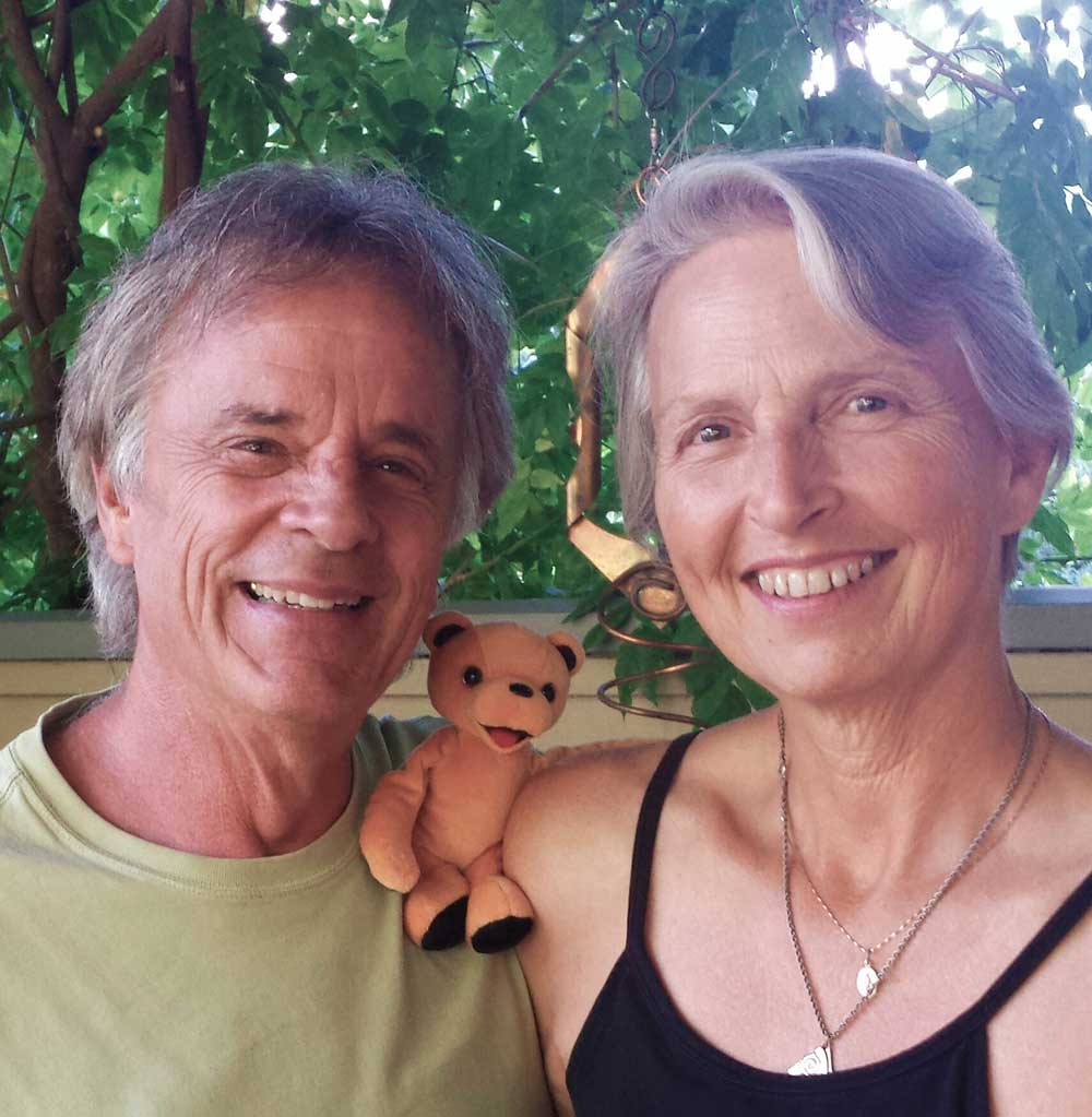 Wendy Weir - Doug Bratt and Wendy Weir with the first prototype Grateful Bear.