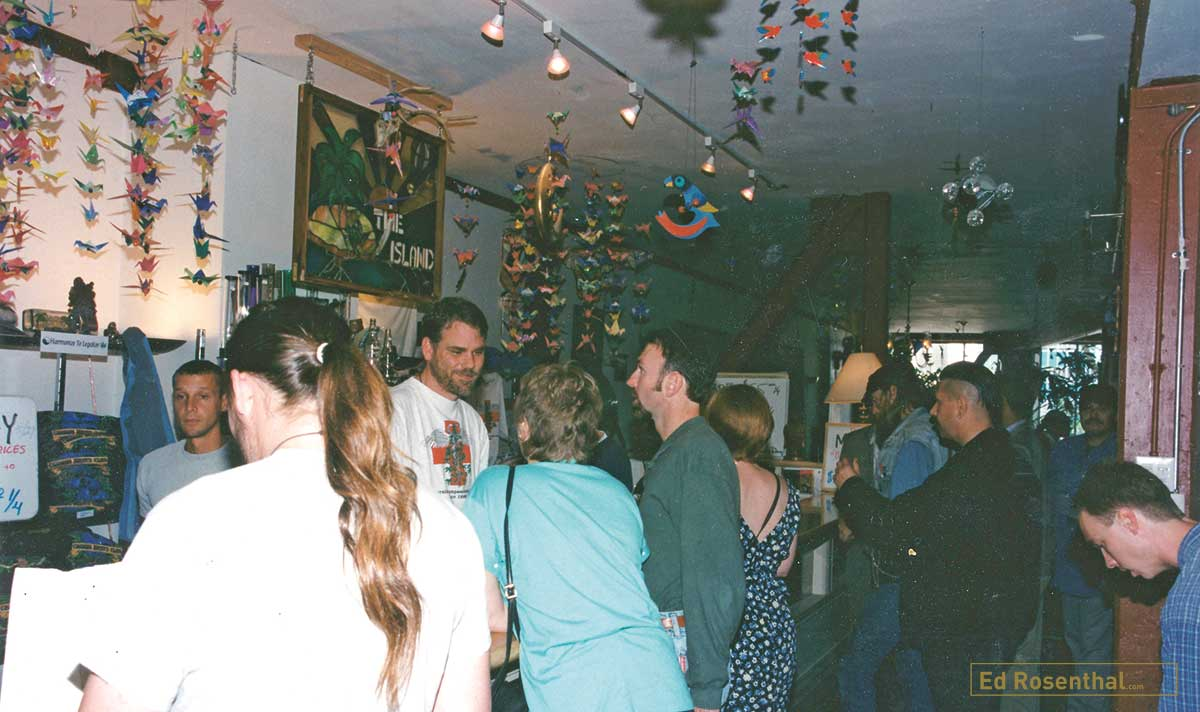 Patients at the medicine counter of The Cannabis Buyers Club founded by; Dennis Peron, Mary Jane Rathbun, AKA 'Brownie Mary', Dale Geiringer, with Beth Moore, John Entwhistle, Jason Patrick Menard, Gerry Leatherman, Richard Eastman and Dr. Tod Mikuria, San Francisco, California, 1994.