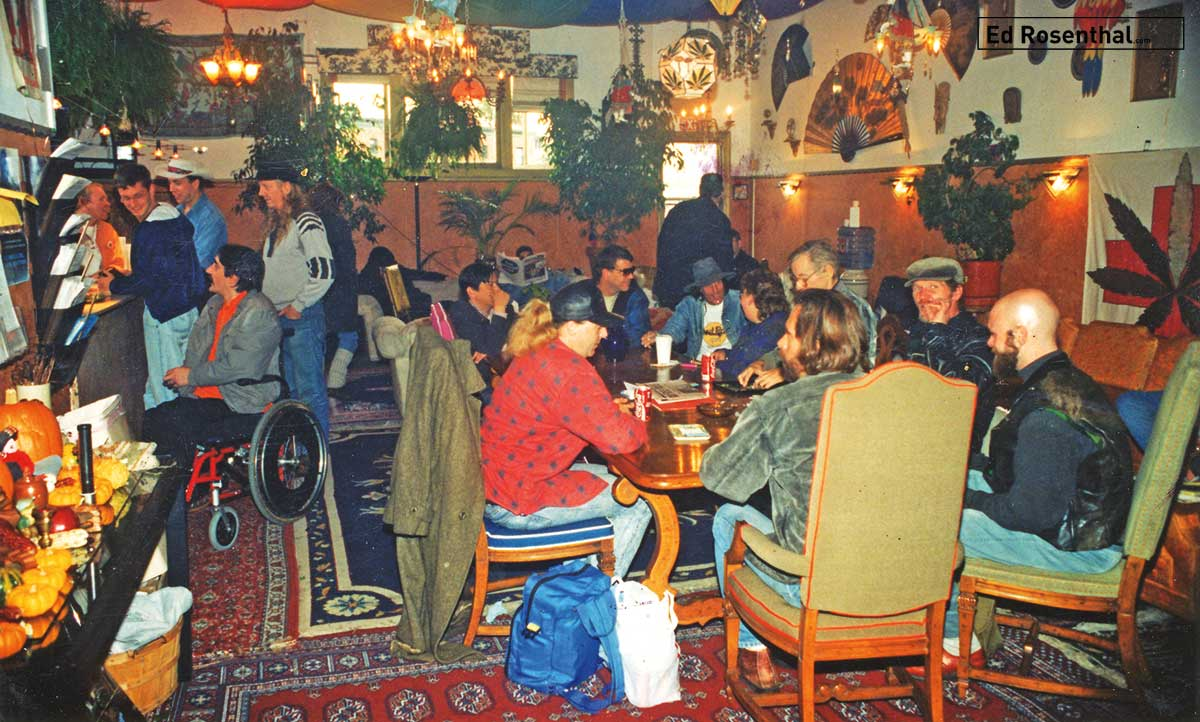Clients socializing at The Cannabis Buyers Club, San Francisco, California, 1994.