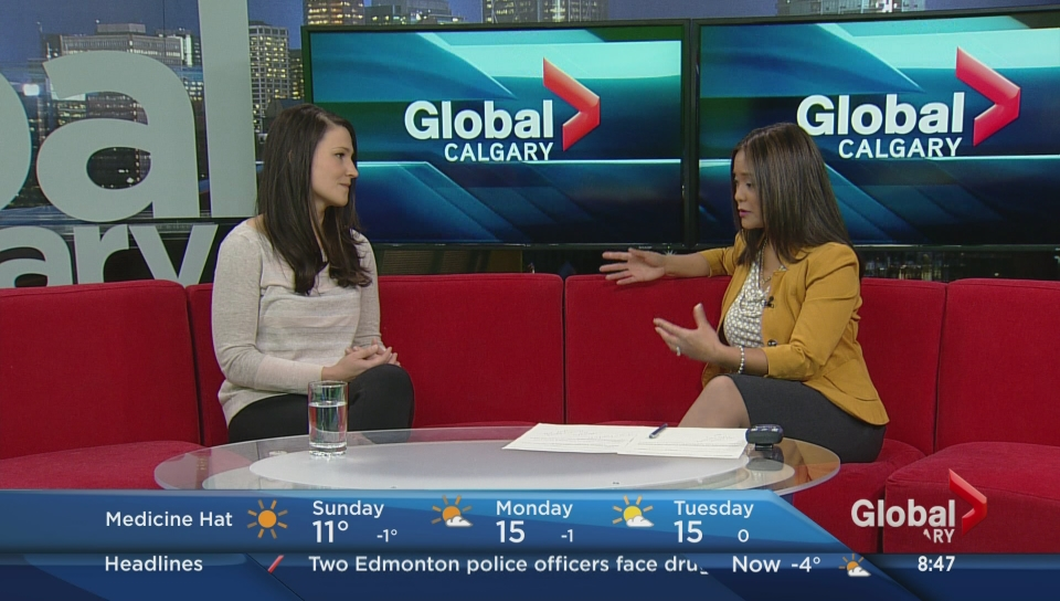 Dr. Tomfohr-Madsen speaking on mindfulness tactics to manage internalizing symptoms during pregnancy. Photo courtesy of Global TV.
