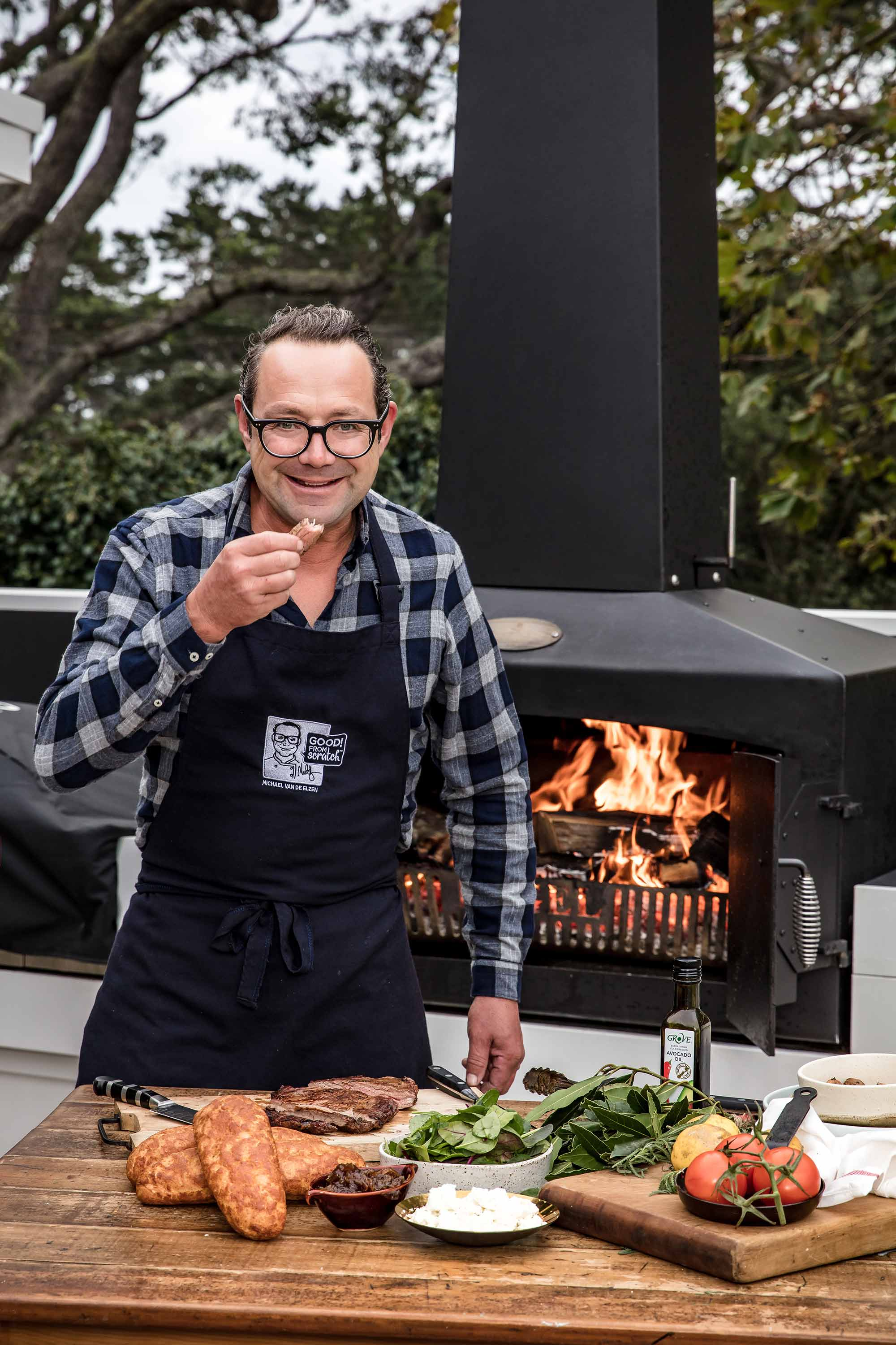 Celebrity Chef, Michael Van de Elzen with his Engel Fire