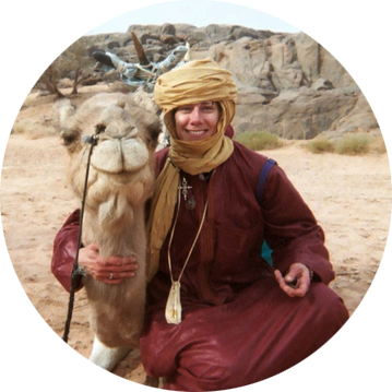 With my riding camel, Anarani, in the Sahara Desert