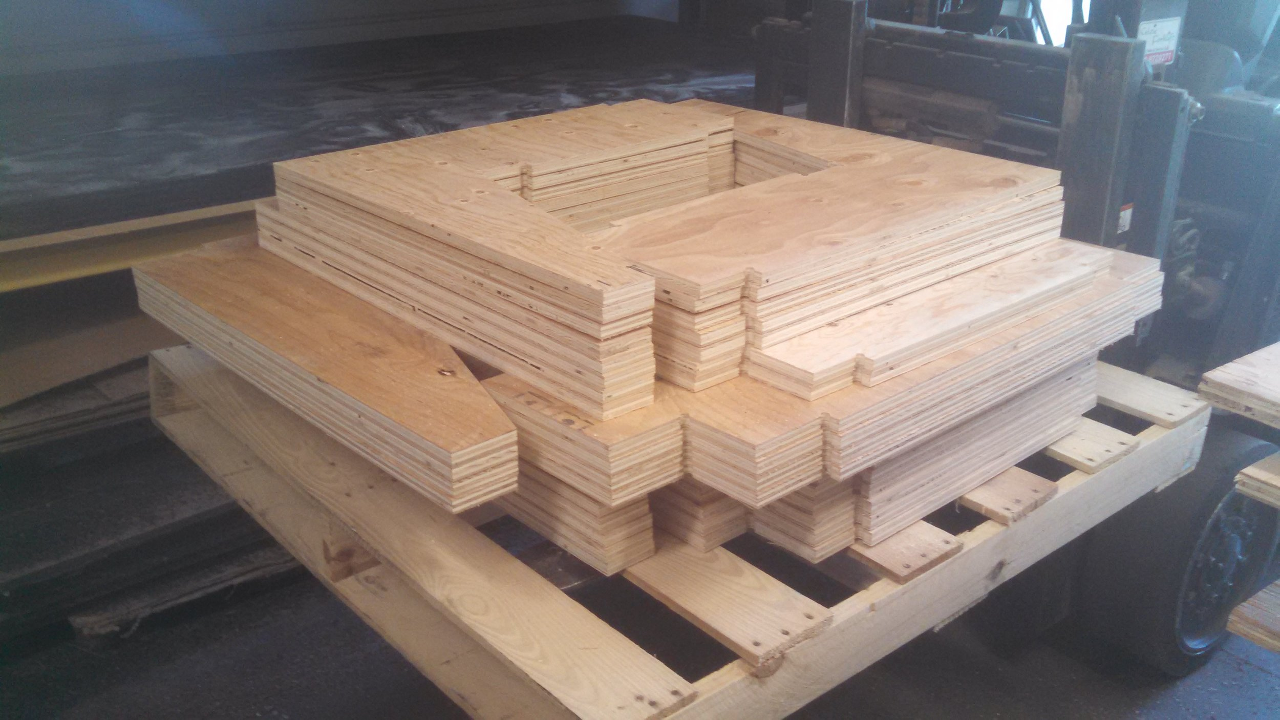 Plywood parts custom machined on our CNC router for restaurant or club booth seating for one of our hospitality customers.