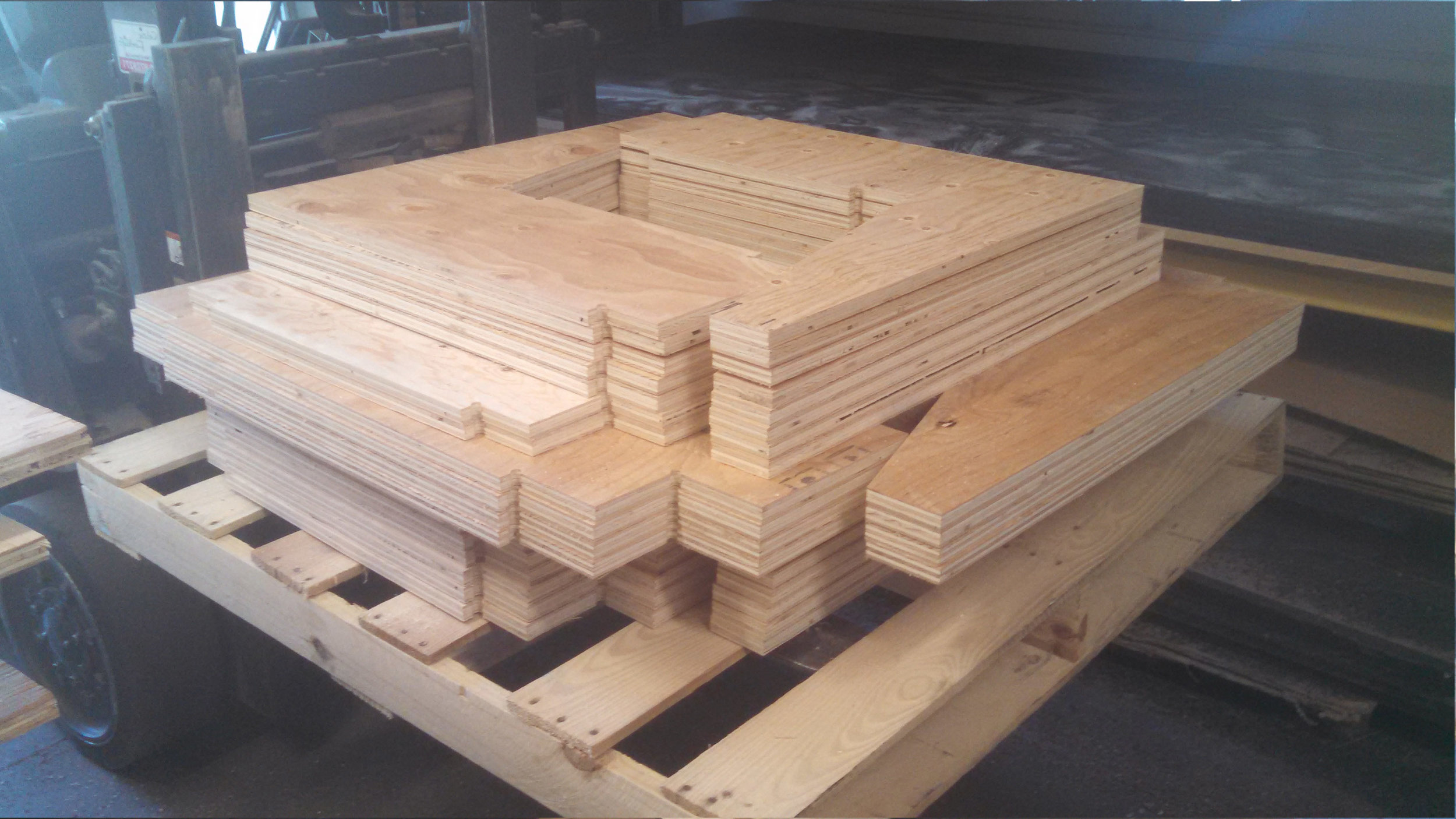 Plywood booth seating for a hospitality customer