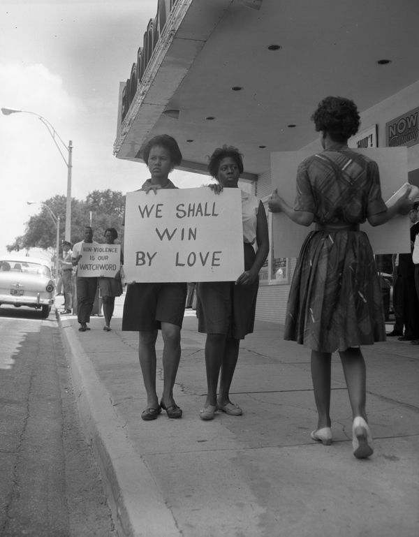 Demonstrators protesting theater segregation in Tallahassee (1962)_ | Florida Memory.jpg