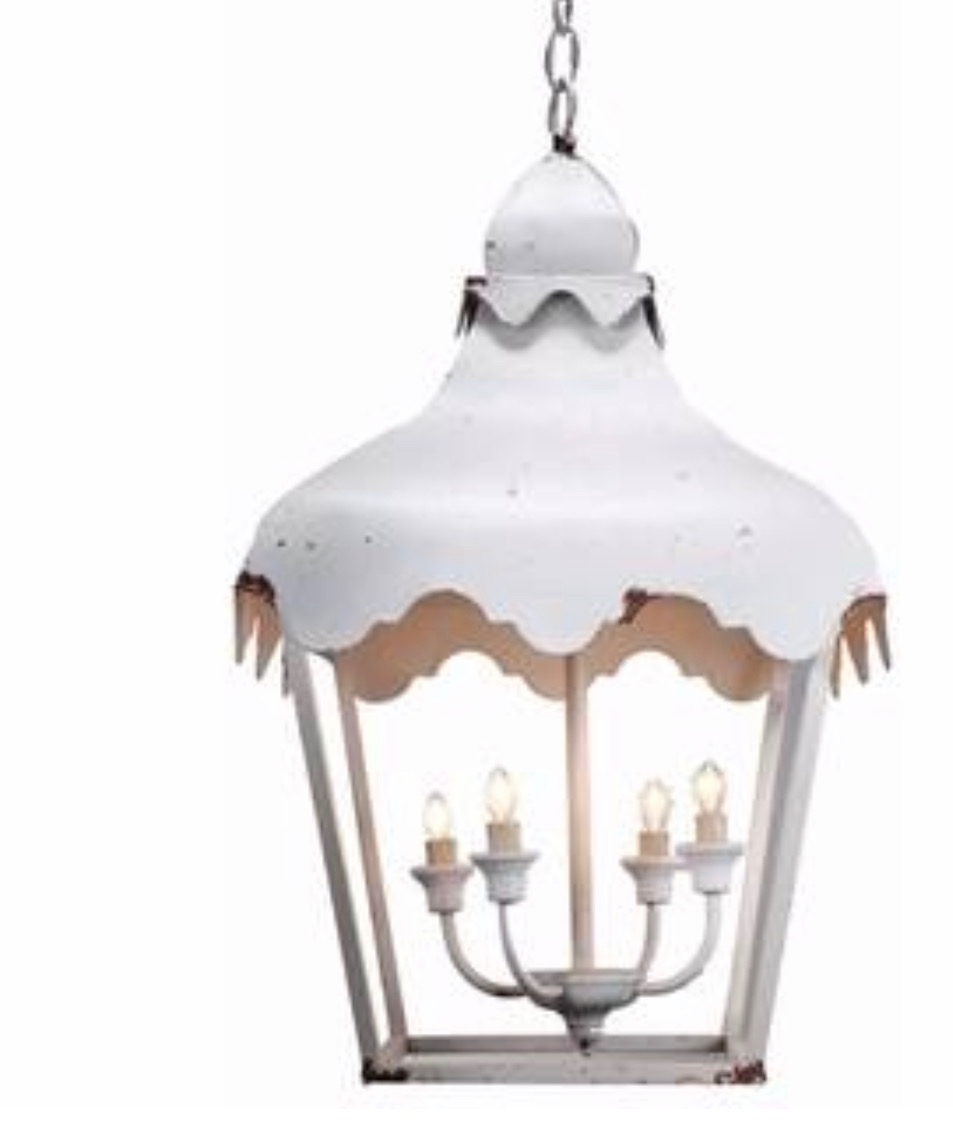 Overstock's Vintage Style Four Light Chandelier retails for $268.49. Its very generous in size and is lovely as is, or easily painted if you want to achieve a little less rustic more refined look. Sorry for the poor picture quality.