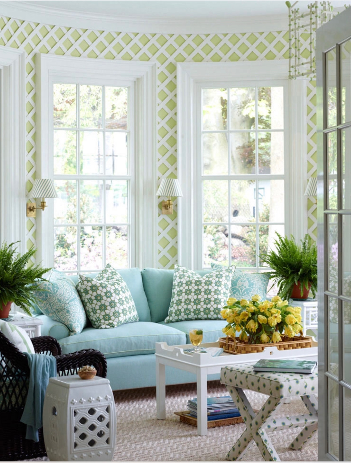 This gorgeous image via  Ashley Whittaker Design  was the inspiration for my lattice built-ins.