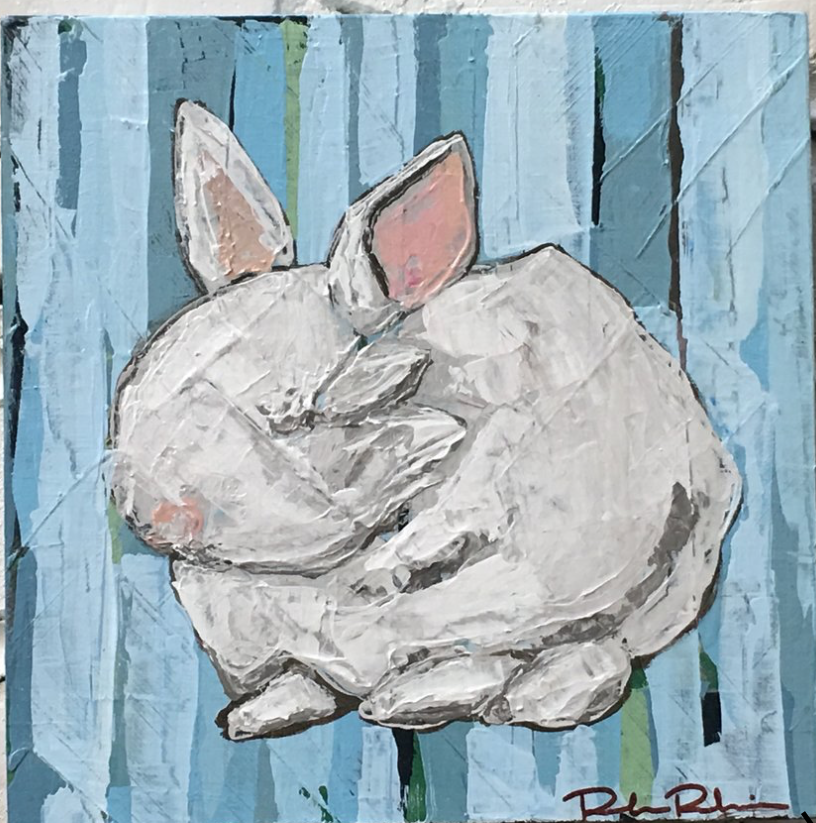This sweet little bunny painting by  Rebecca Robinson  is so sweet.