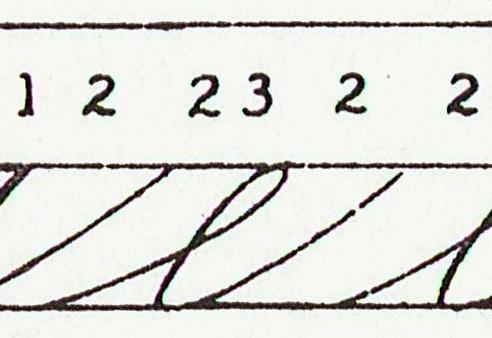 Classic Spencerian minuscule e stroke sequence P2 - reversed P3 - P2. (NSC)