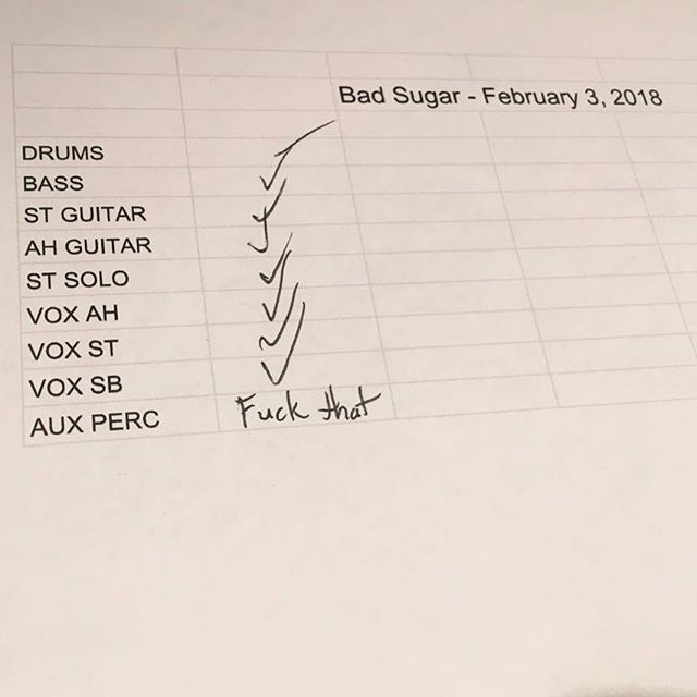 #fbf to when we recorded bad sugar. Aux percussion didn't make the cut unfortunately.