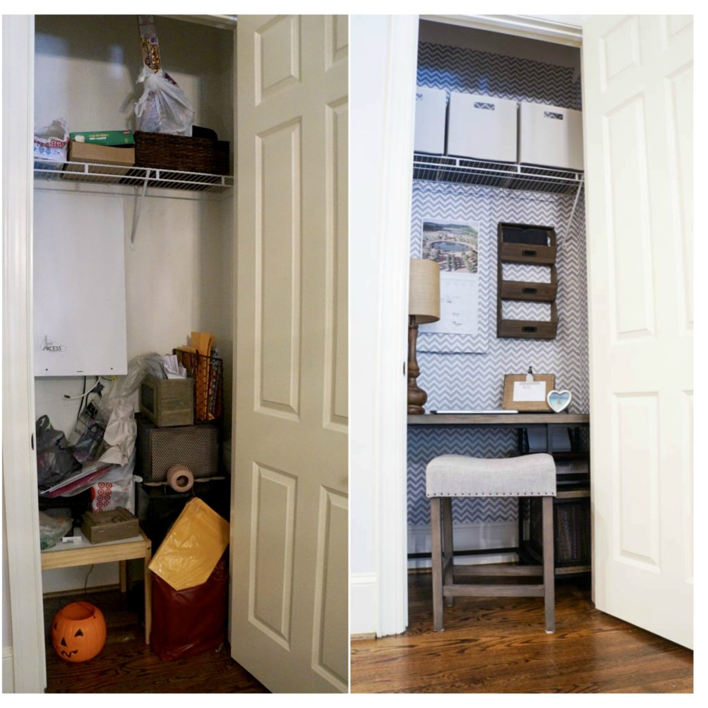 Before and After Office Closet Sara Lynn Brennan | All Things Home