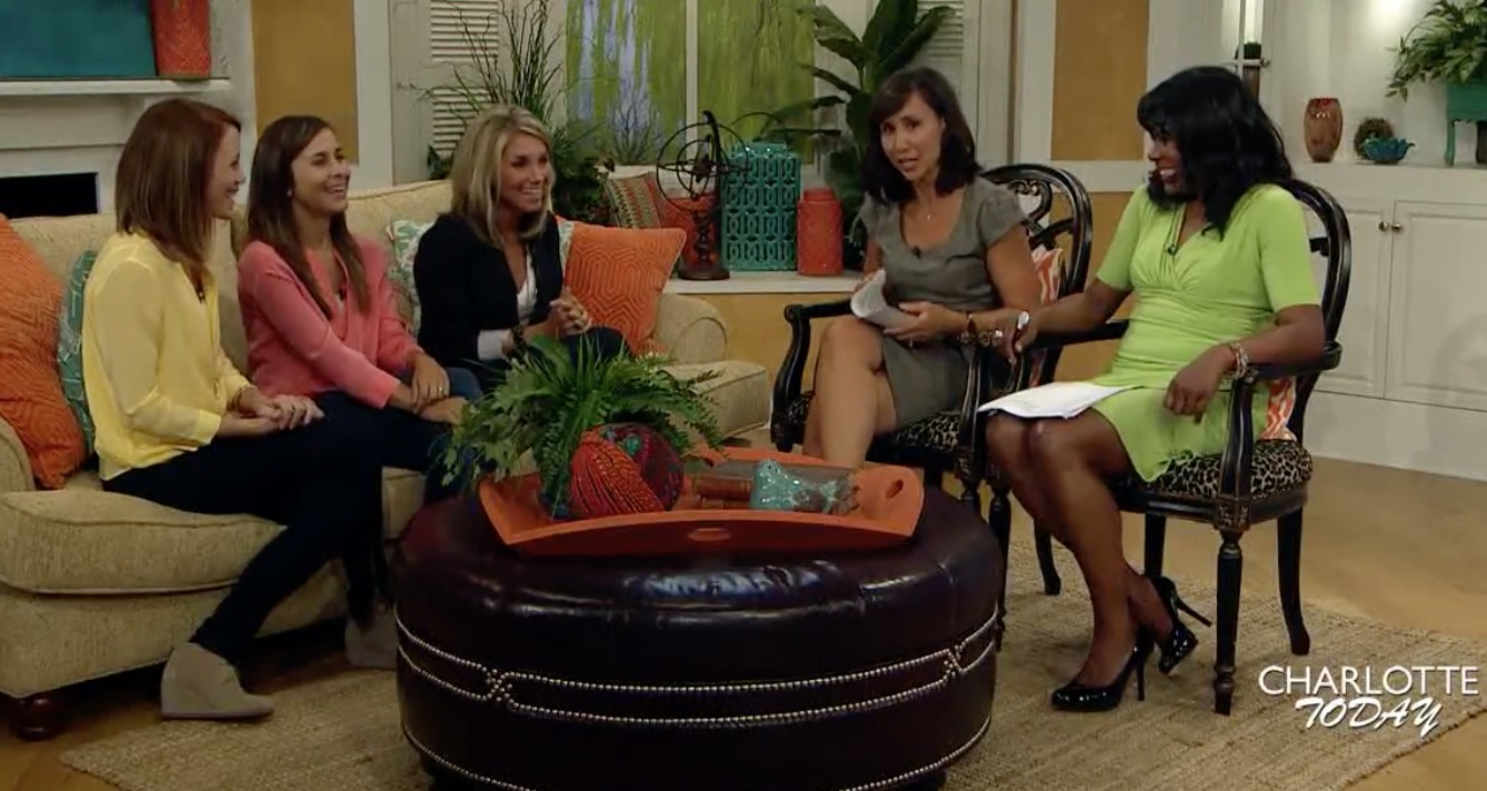 """My mom blogger friends and I, """"The WIRL Momma's"""" on the Charlotte Today Show in 2014."""
