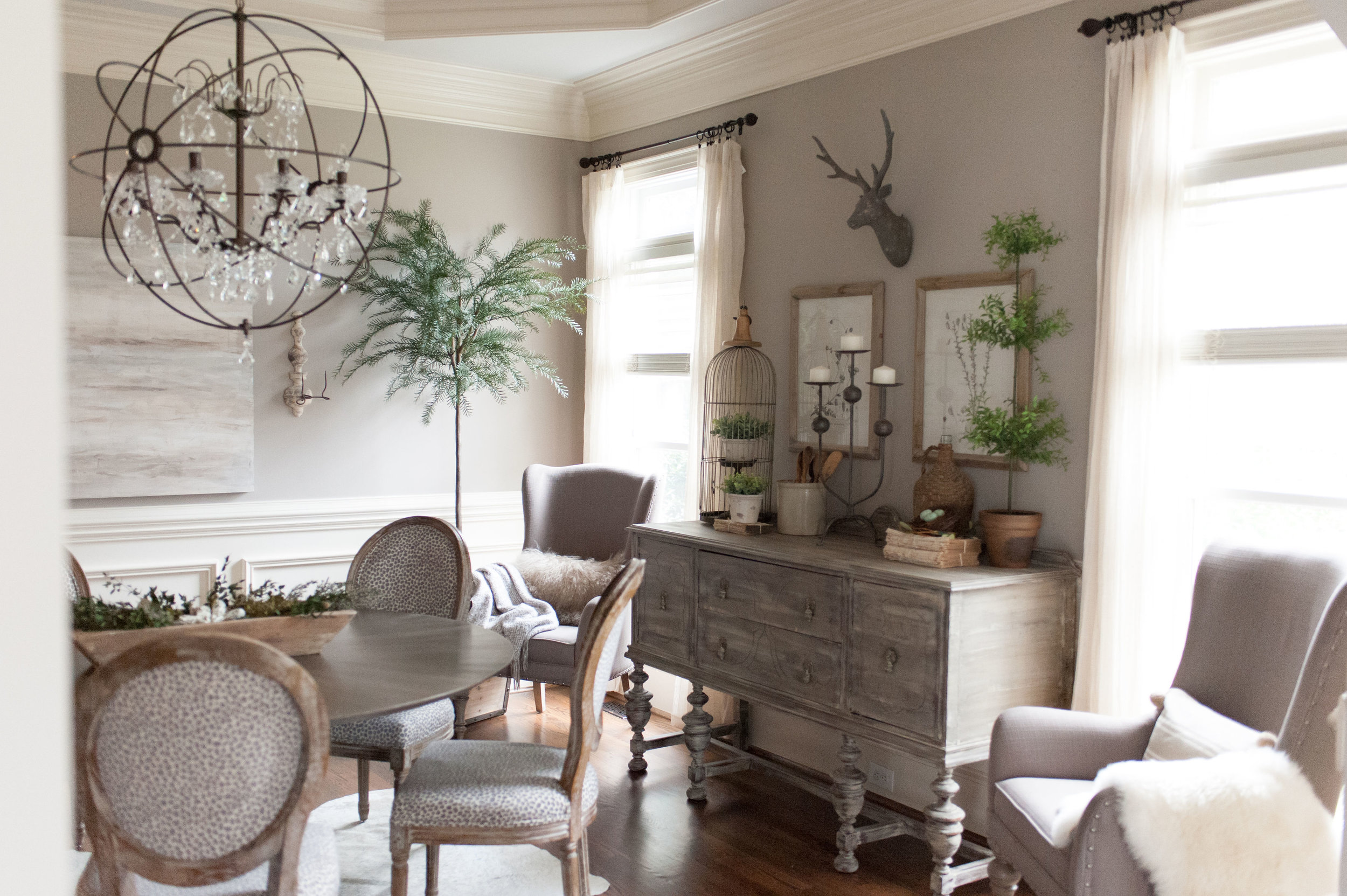 Romantic Transitional Dining Room, Transitional Dining Room