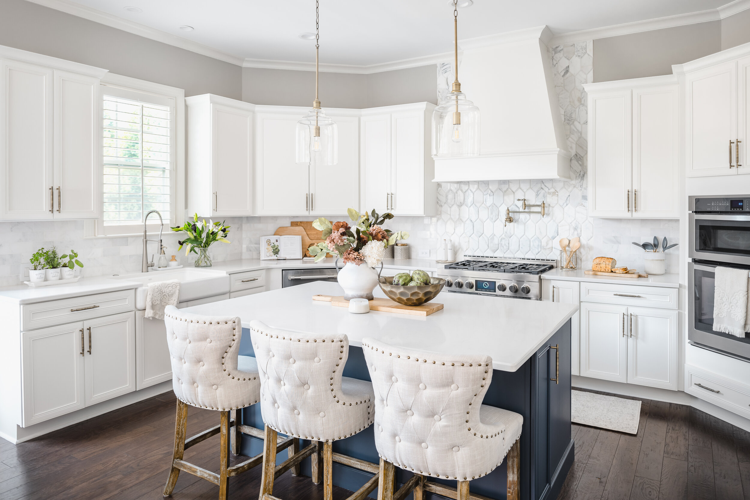 Timeless Blue And Gold Kitchen Sara Lynn Brennan Interiors Charlotte Interior Designer