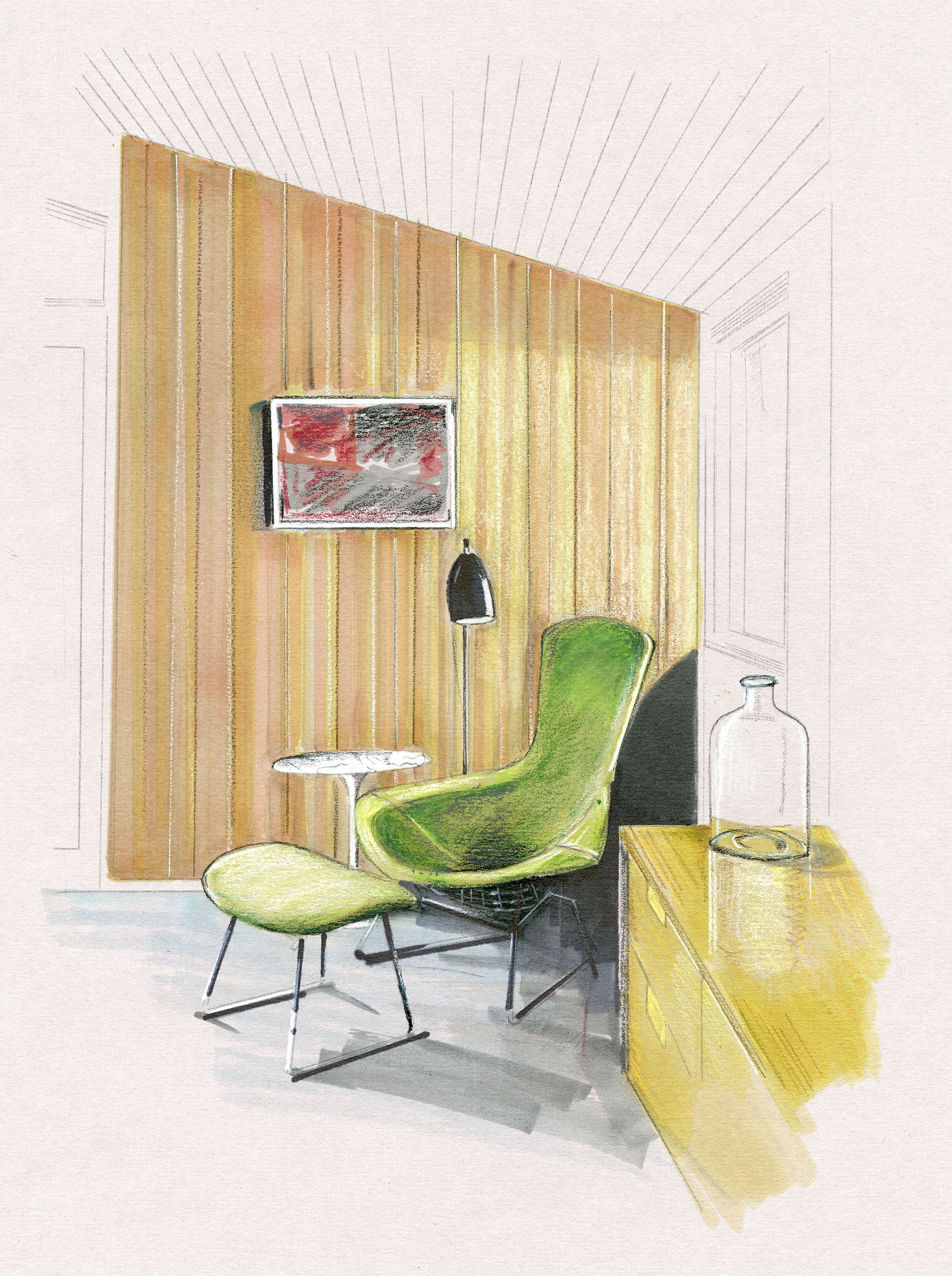 Mid-century-modern Reading Nook (marker and colored pencil rendering)