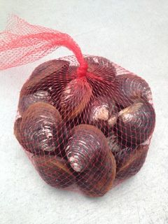A sack of black clams.