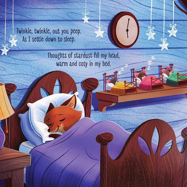 Sweet dreams. A little preview from a board book project I worked on. This is just my 3rd favorite spread from the book. . . . . #illustration #illustratedart #artofinstagram #fox #mice #childrensillustrator #childrensillustration #digitalart #drawing