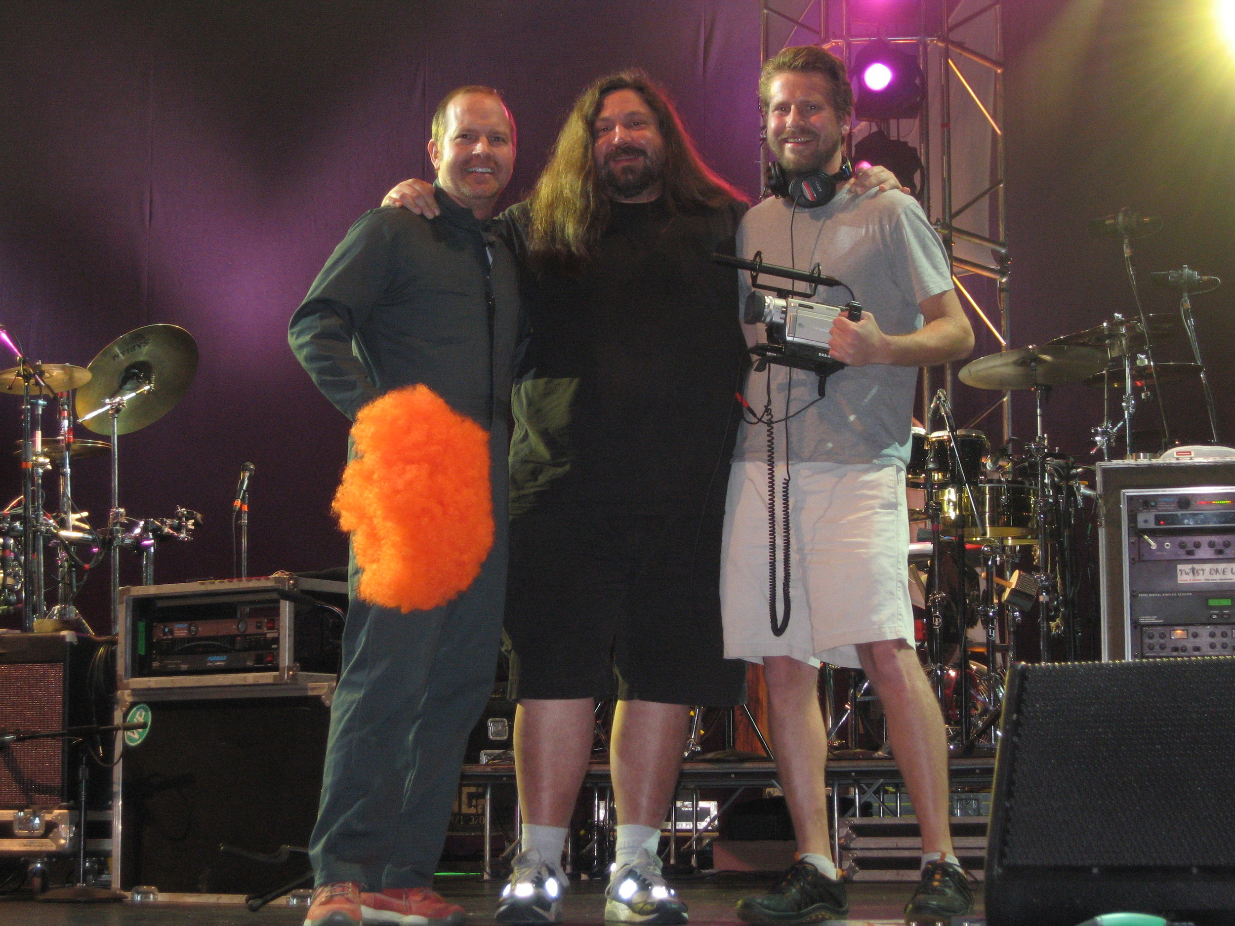 Mike and Patrick Henry with childhood friend, Dave Schools of Widespread Panic who happily agreed to be  Kicked in the Nuts .