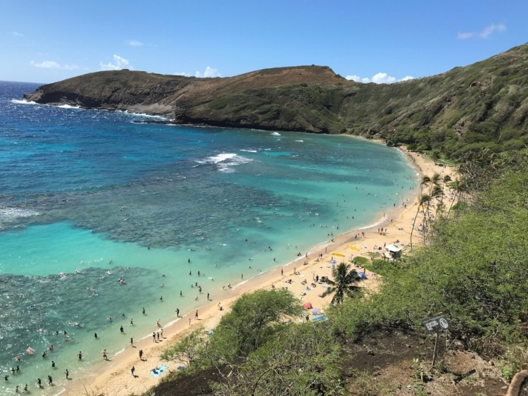 Hanauma Bay Lookout, known for snorkeling.