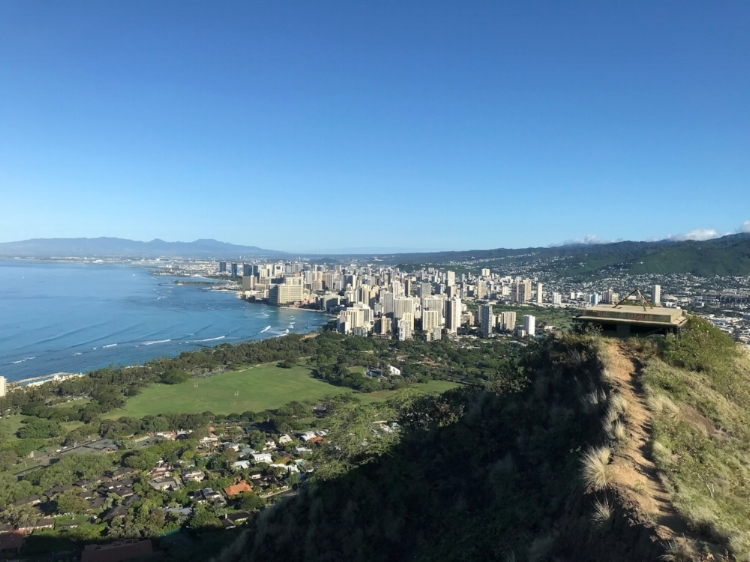 View from the top of Diamond Head Crater of Honolulu.