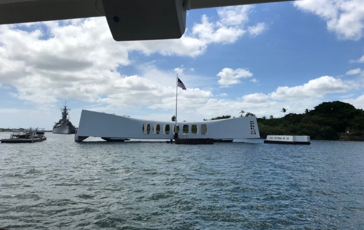 The USS Arizona Memorial in Pearl Harbor from the tour boat.