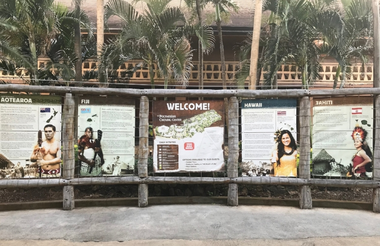 Welcome signs at the Polynesian Cultural Center.