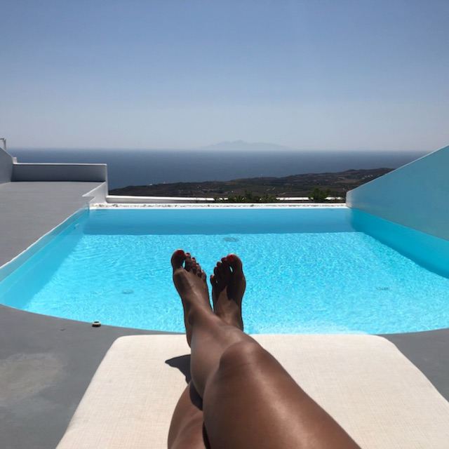 Poolsode at our hotel in Santorini. If it looks like heaven...that's because it was!