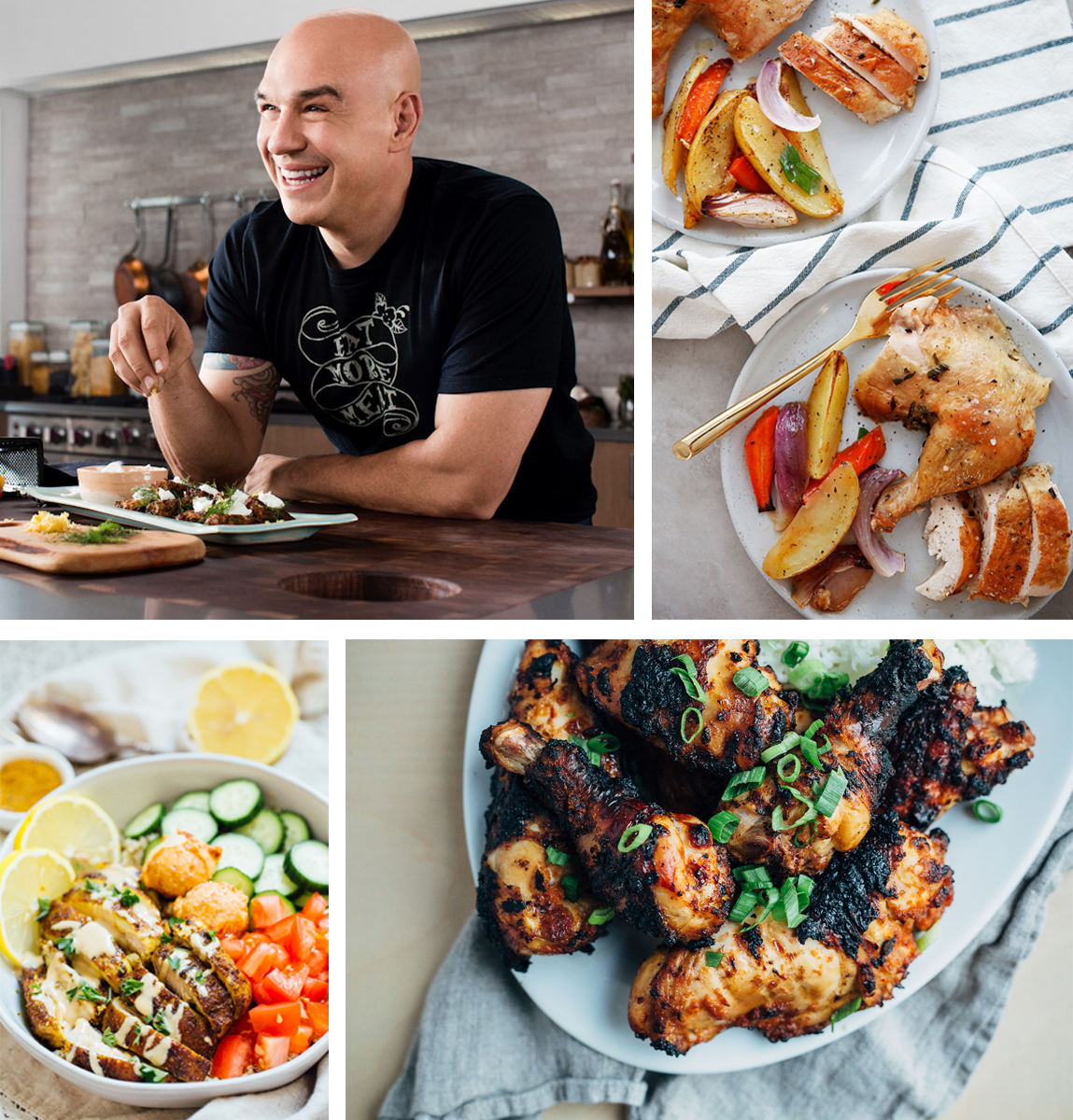 (top left) Chef Michael Symon has developed  several recipes  exclusively for SVO using Farmer Focus Chicken. (top right)  Roasted Chicken Dinner  recipe by Lexi's Clean Kitchen. (bottom left)  Chicken Shawarma Bowl  recipe by Table for Two. (bottom right)  Korean-Style Grilled Chicken  recipe by Brooklyn Supper.