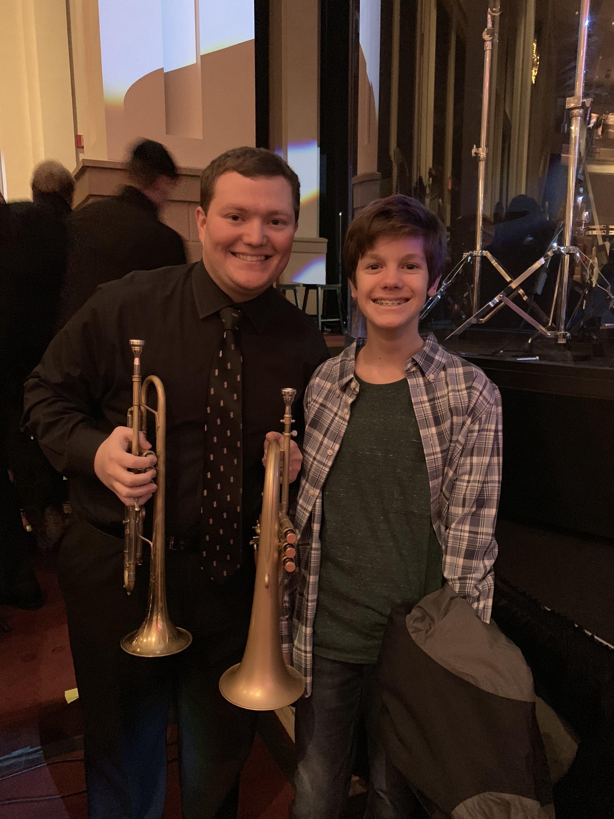 William (8th Grade, SB Alto Sax) spotted Mr. Soloff in the North Atlanta Christmas Festival Orchestra!