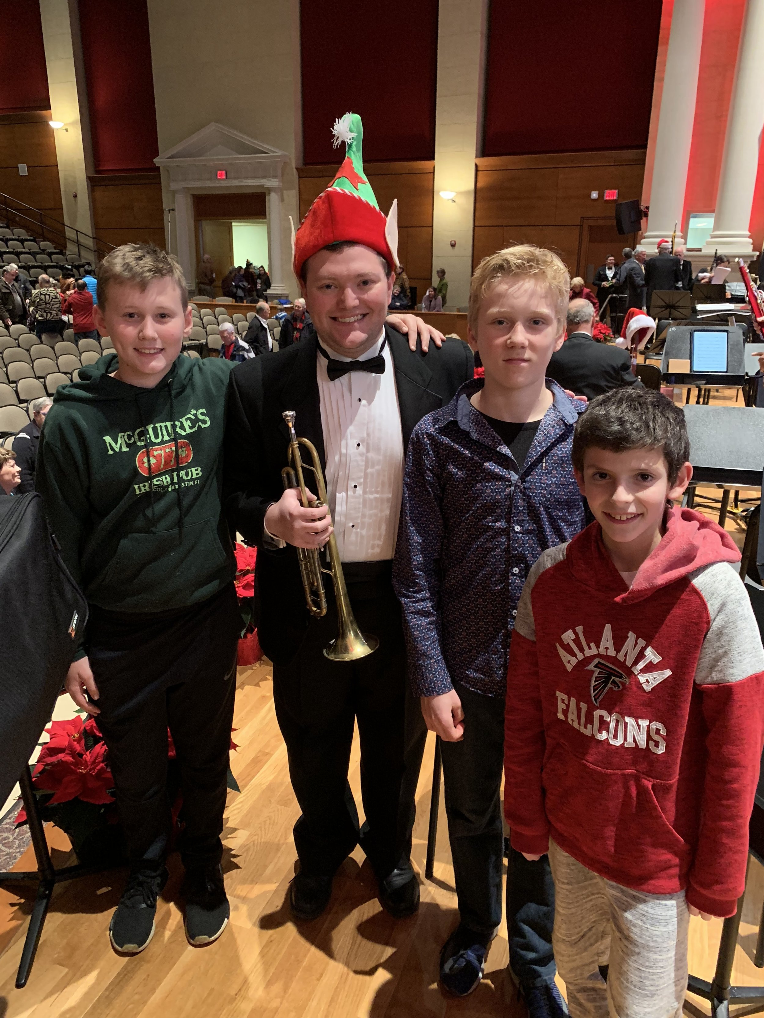 Carter, David, and Julian joined Mr. Soloff at the Cobb Wind Symphony Winter Concert!
