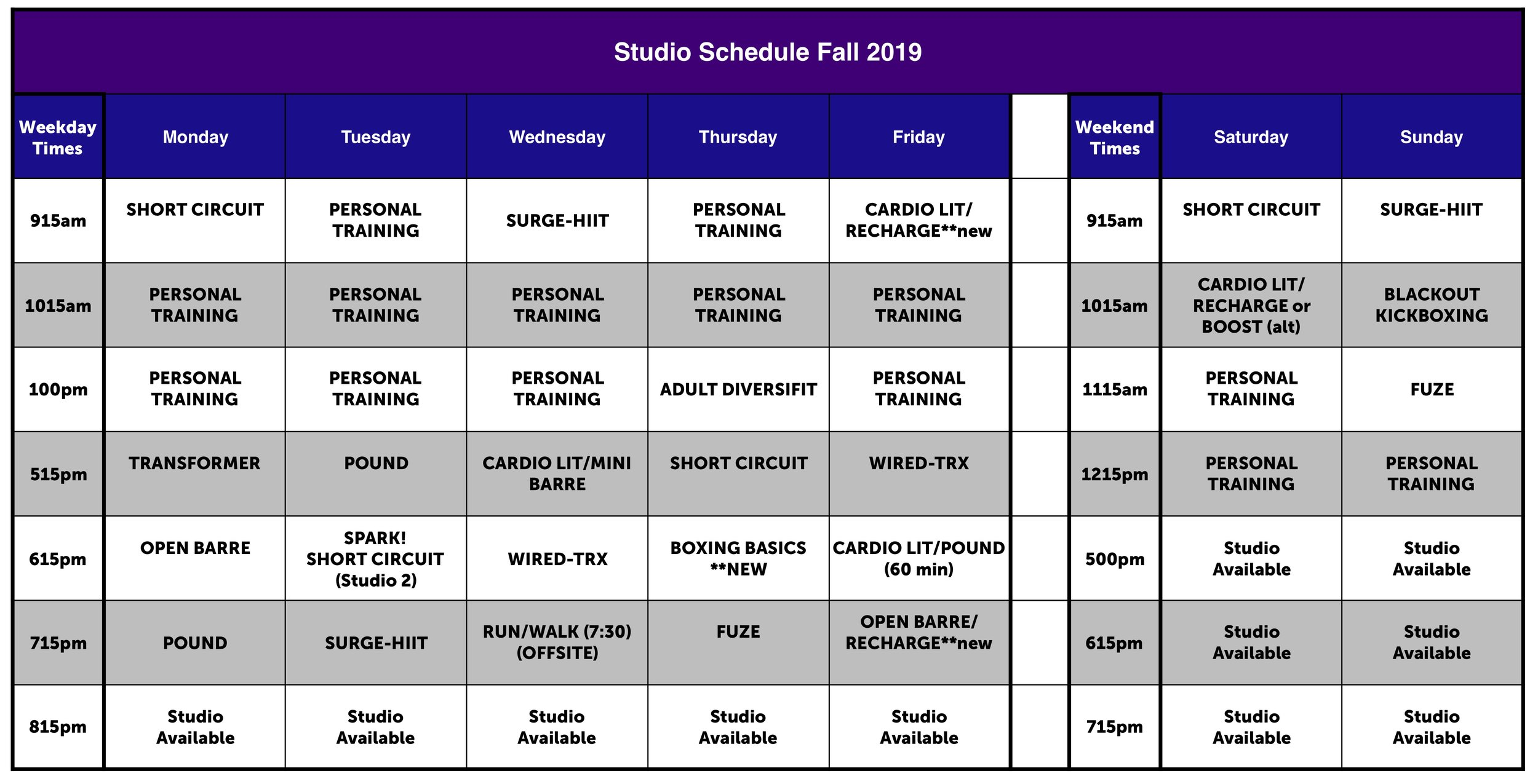 **classes subject to change  ***Studio 2 is is available for Personal Training unless noted otherwise
