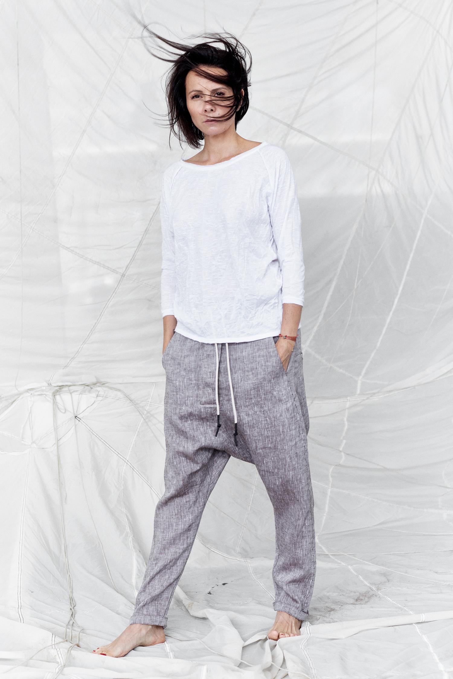 GREY linen pantsgrey drop crotch pantgslinen drop crotch pantswoman linen pants