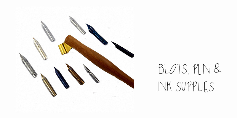 Oblique holder, nibs and ink available from Blots, Pen & Ink supplies