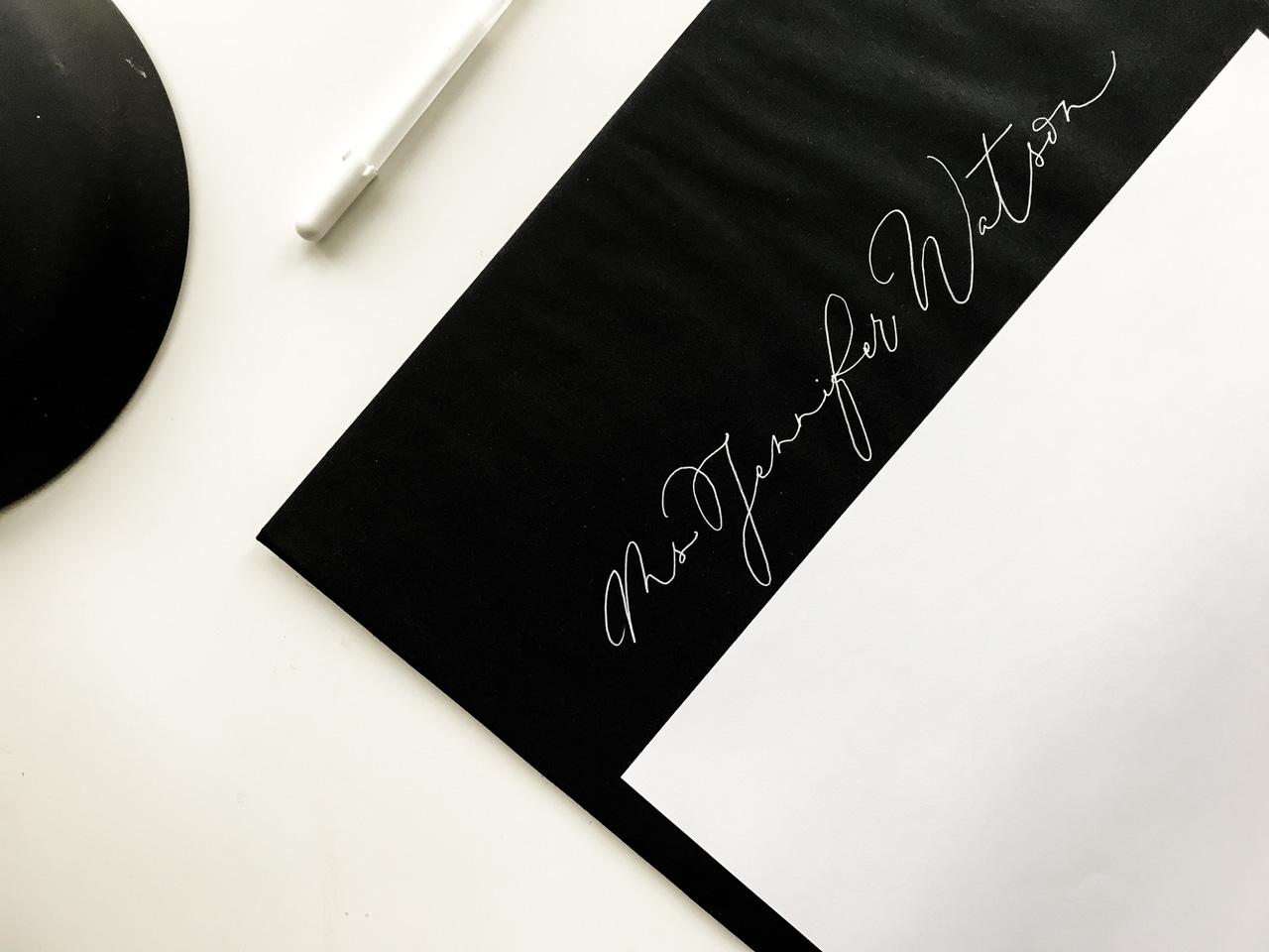 freehand envelope addressing monoline calligraphy
