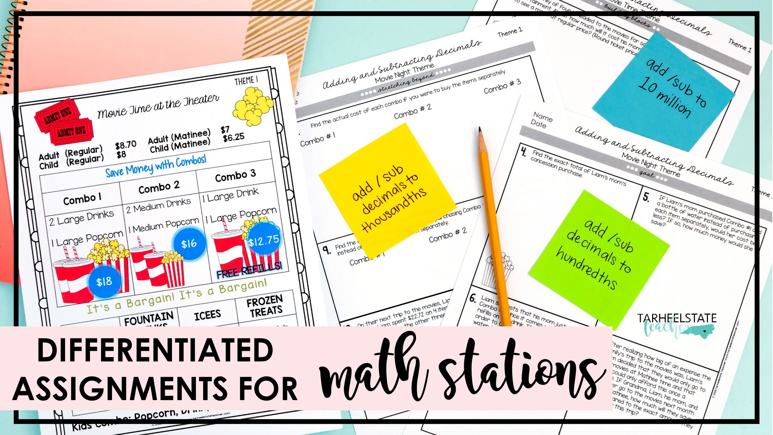 differentiated word problems for math stations popcorn theme.jpg