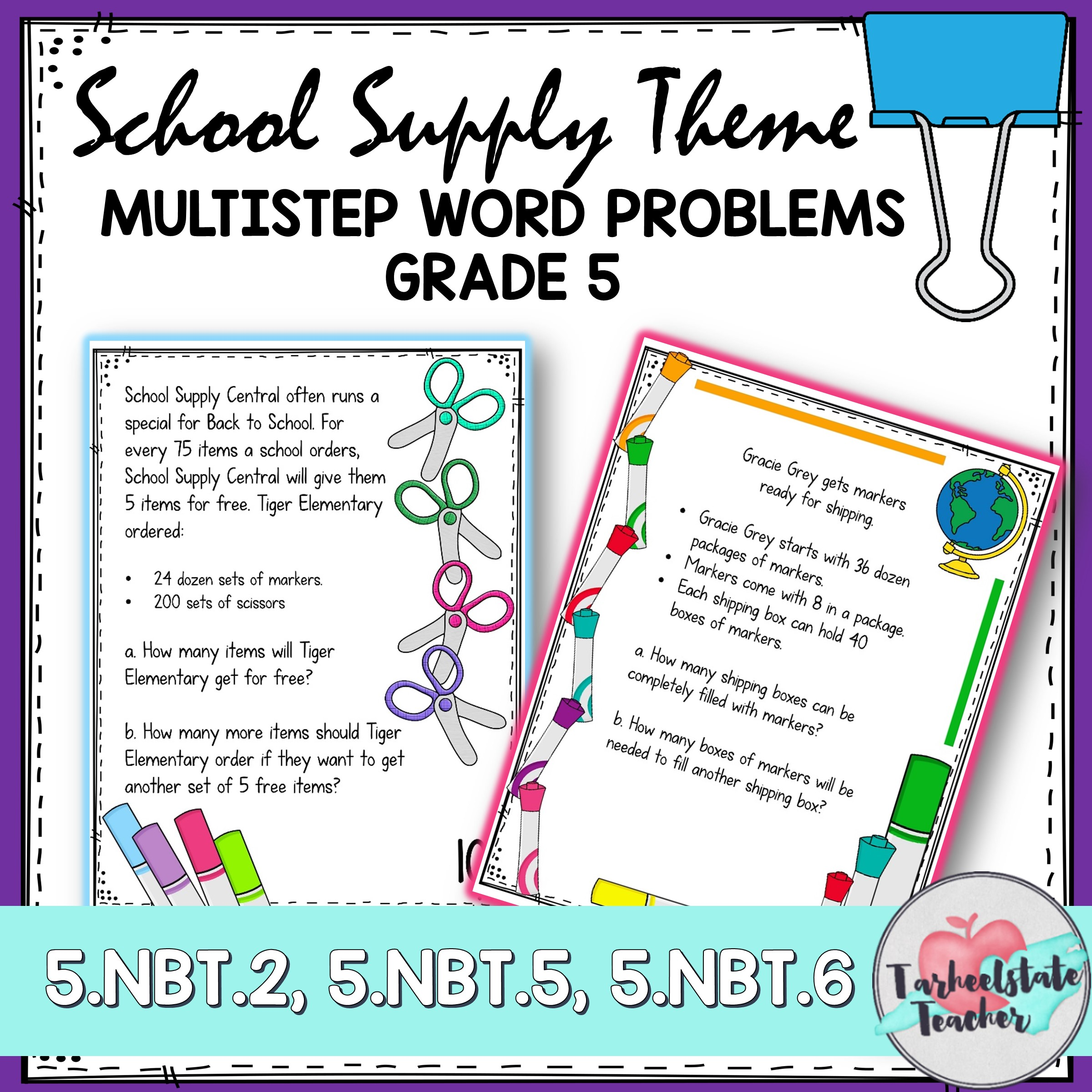 multistep word problems school supply theme