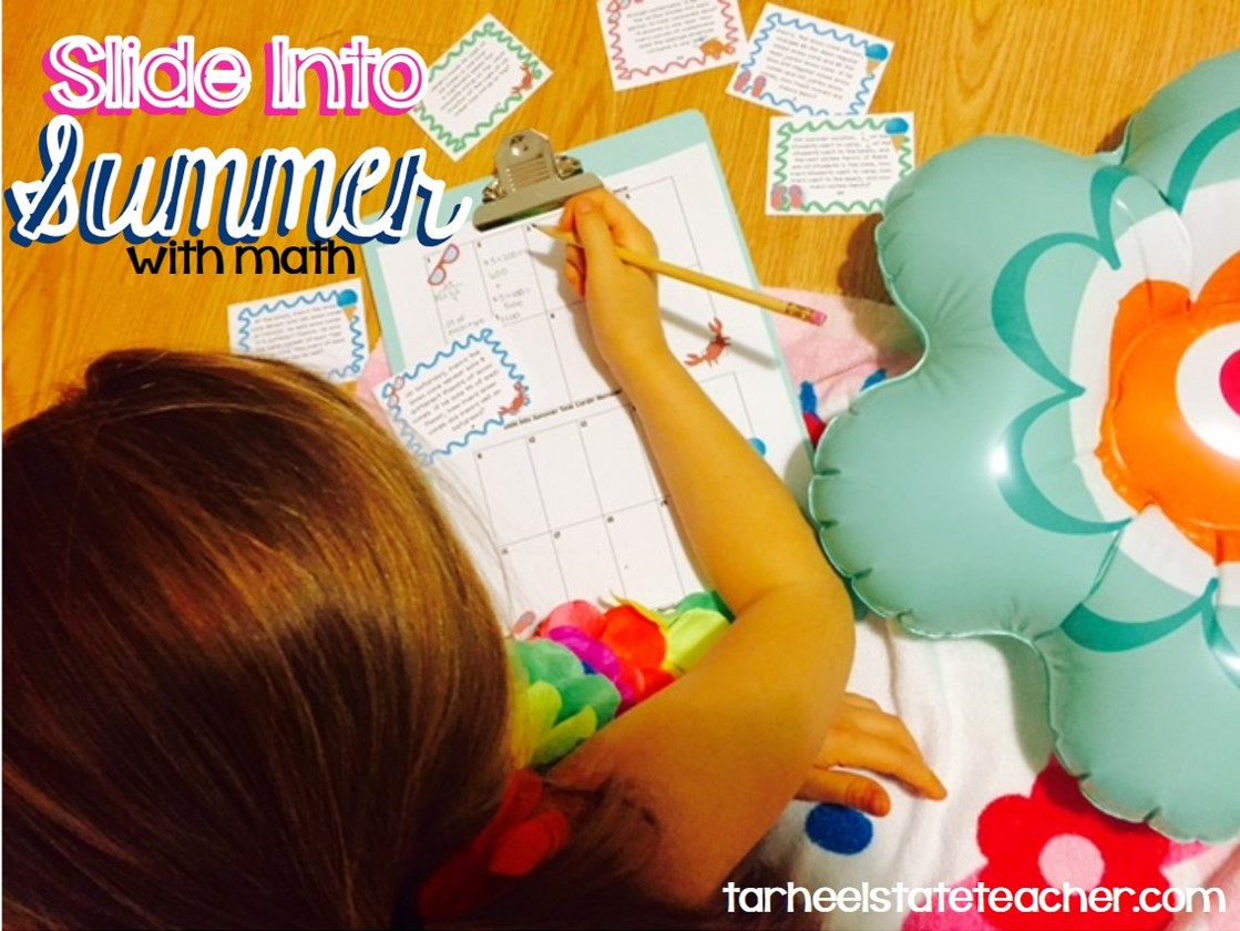 slide into summer end of year  with math task cards lei photo.jpg