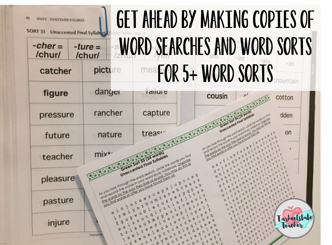 make copies of word sorts and word searches for each level.png