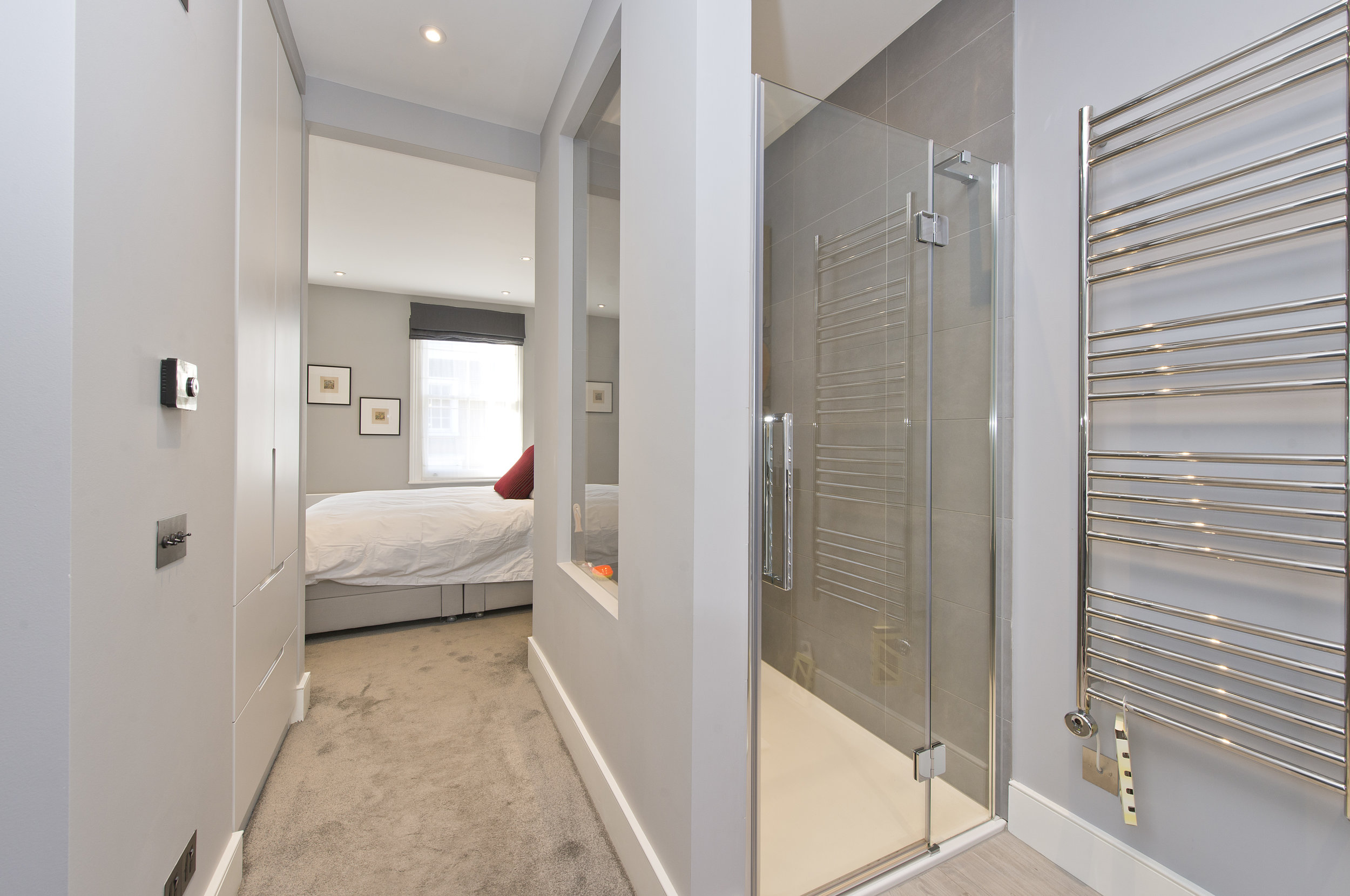 Full design and build Dressing Area and En Suite, Holland Park, The Kitchen and Loft Company.