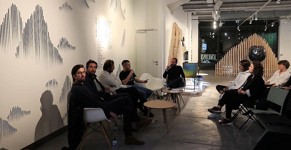 De gauche à droite : Arnaud Berthereau et Joran Briand - Studio Briand & Berthereau, Jean-Sébastien Blanc - 5.5, Guillaume Hugon -Golgotha et Pierre-Edouard Martial - NellyRodi