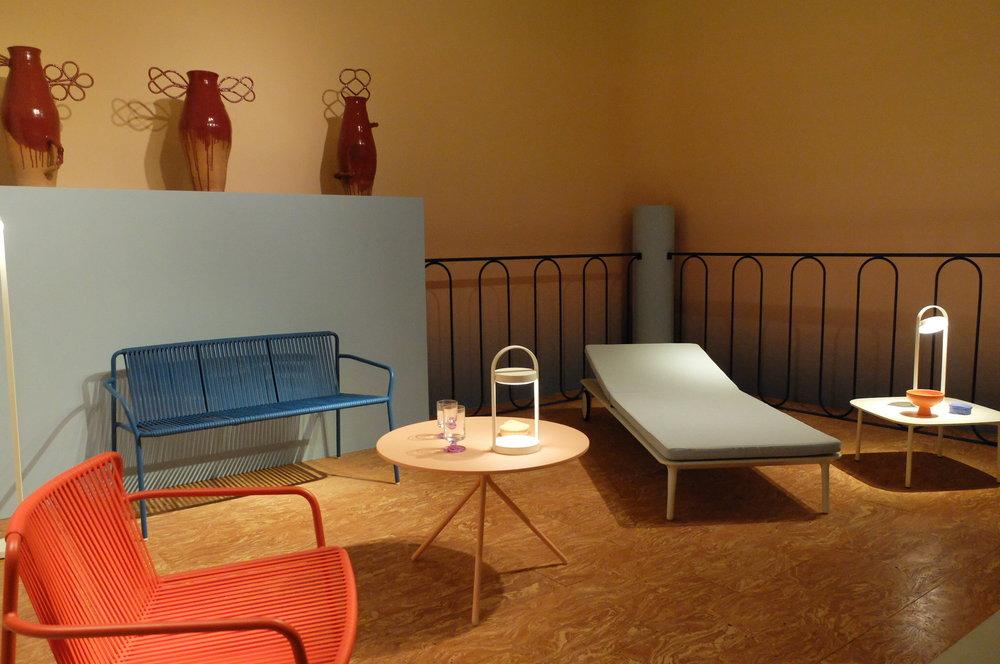 Tribeca Lounge armchair and sofa, Nolita table by CMP Design, Reva sun lounger by Patrick Jouin. PEDRALI