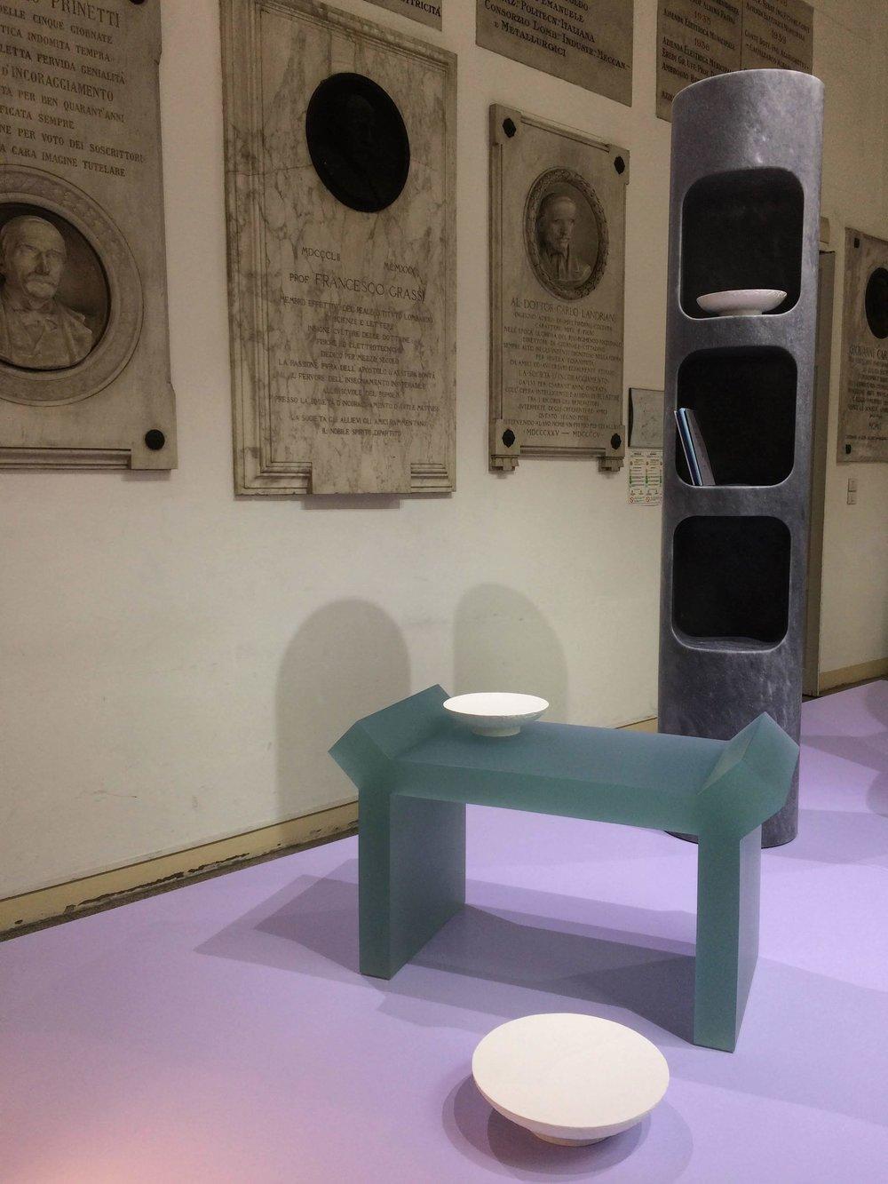 Constantin stool by Francesco Balzano and Totem book shelf by Joris Poggioli. THEOREME EDITIONS