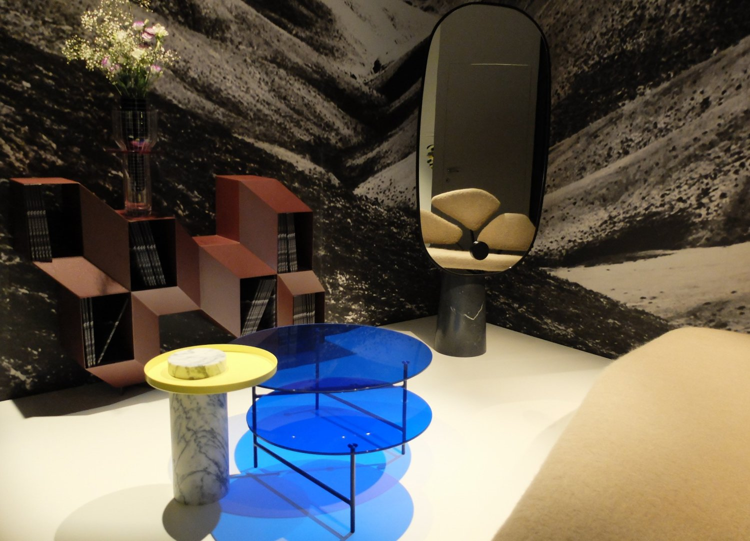 Rocky credenza by Charles Kalkapian, Zorro coffee table by Note Design Studio, Iconic Standing Mirror by Dan Yeffet and Lucie Koldova and Salute table collection by Sebastien Herkner. LA CHANCE