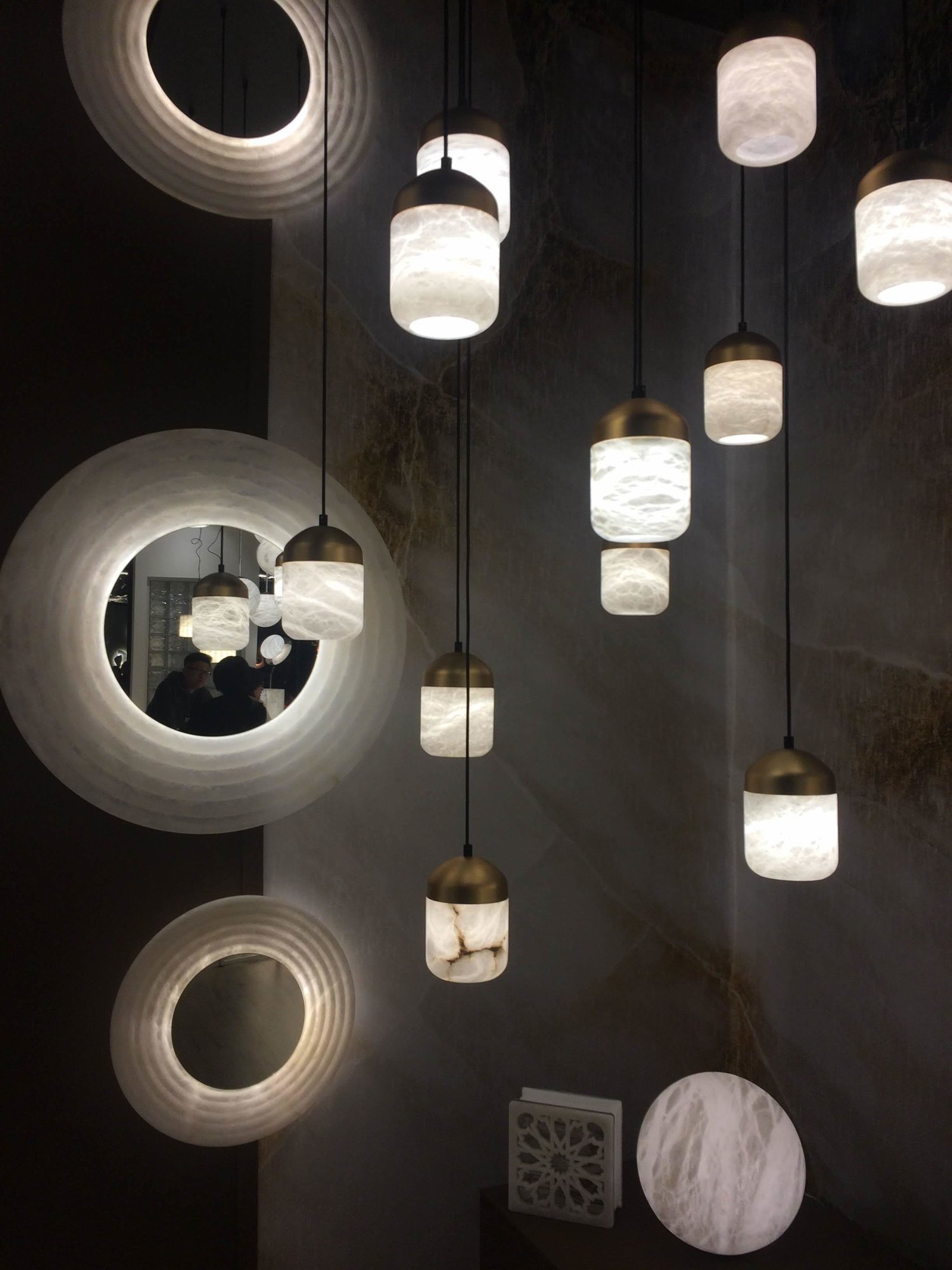 Mirrors and Copper lamps by Joan Casanyes. UNITED ALABASTER