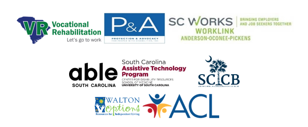 Logos for the organizations involved: SC Vocational Rehabilitation Department, Protection and Advocacy, SC Works, Able South Carolina, SC Assistive Technology Program, and SC Commission for the Blind. Below are logos for the WIPA program hosted by Walton Options for Independent Living and Hire Me SC's funder, the Administration for Community Living at the US Department of Health and Human Services.